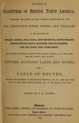 Lovell's Gazetteer of British North America, 1873