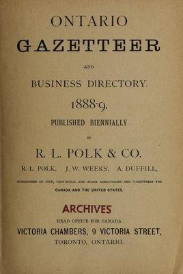 Ontario gazetteer and business directory 1888-89