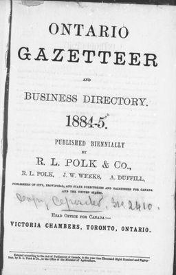 Ontario gazetteer and business directory, 1884-1885