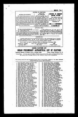 Smiths Falls voters lists from Federal General Elections, 1963