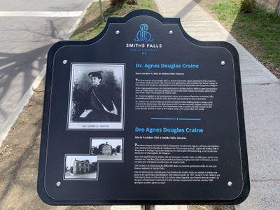 Dr. Agnes Douglas Craine heritage pedestal, 2 Bay Street, Smiths Falls