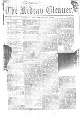 The Rideau Gleaner, 25 April 1860