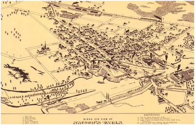 Bird's Eye View of Smith's Falls, Province of Ontario, Canada, 1874, reproduction map 1973