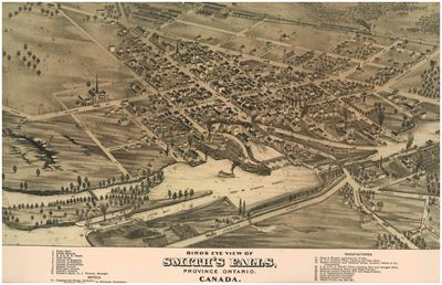 Bird's Eye View of Smith's Falls, Province of Ontario, Canada, 1874