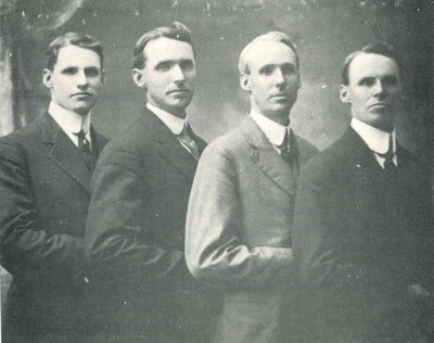 Studio photograph of H. Wilfred, Ernest M., William H. and John J. Kerfoot, Smiths Falls, 1905