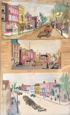 Watercolour sketches by John William Forde, 1938, Smiths Falls
