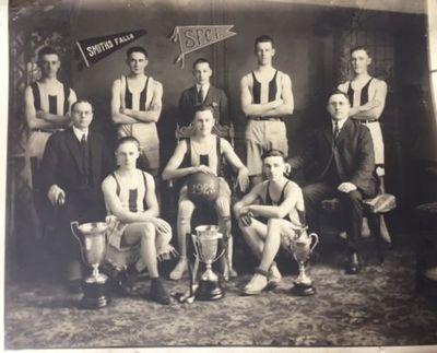 Studio photograph of Smiths Falls Collegiate Institute basketball team, 1923