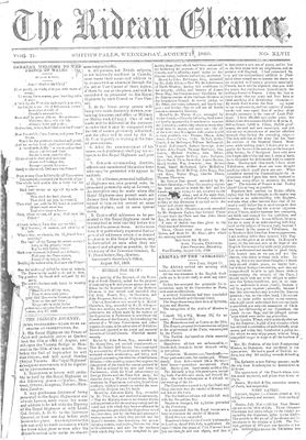 The Rideau Gleaner, 17 August 1860