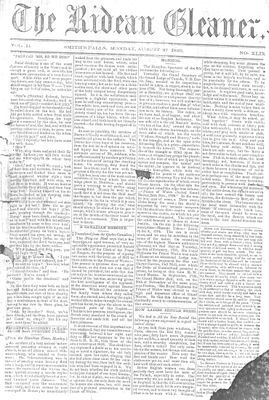 The Rideau Gleaner, 27 August 1860