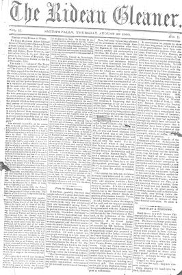 The Rideau Gleaner, 30 August 1860
