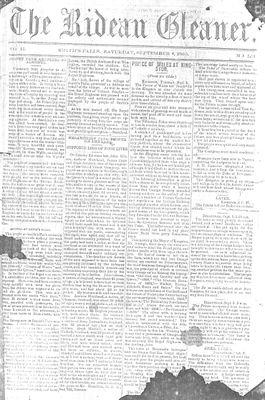 The Rideau Gleaner, 8 September 1860