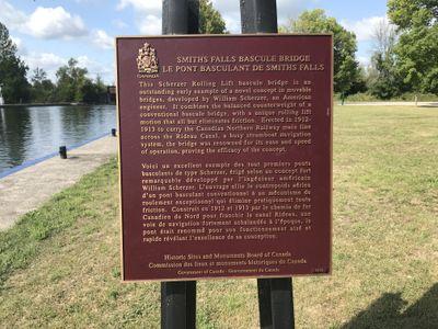 Bascule bridge Parks Canada plaque, Smiths Falls
