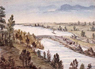 Old Sly's Locks by John Burrows, ca. 1835, Smiths Falls