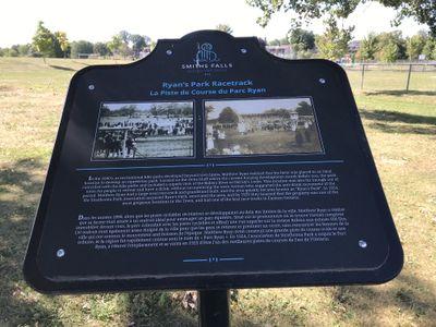 Ryan's Park Racetrack plaque, Lower Reach Park, Smiths Falls