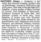 Nécrologie / Obituary Gladys Gauthier