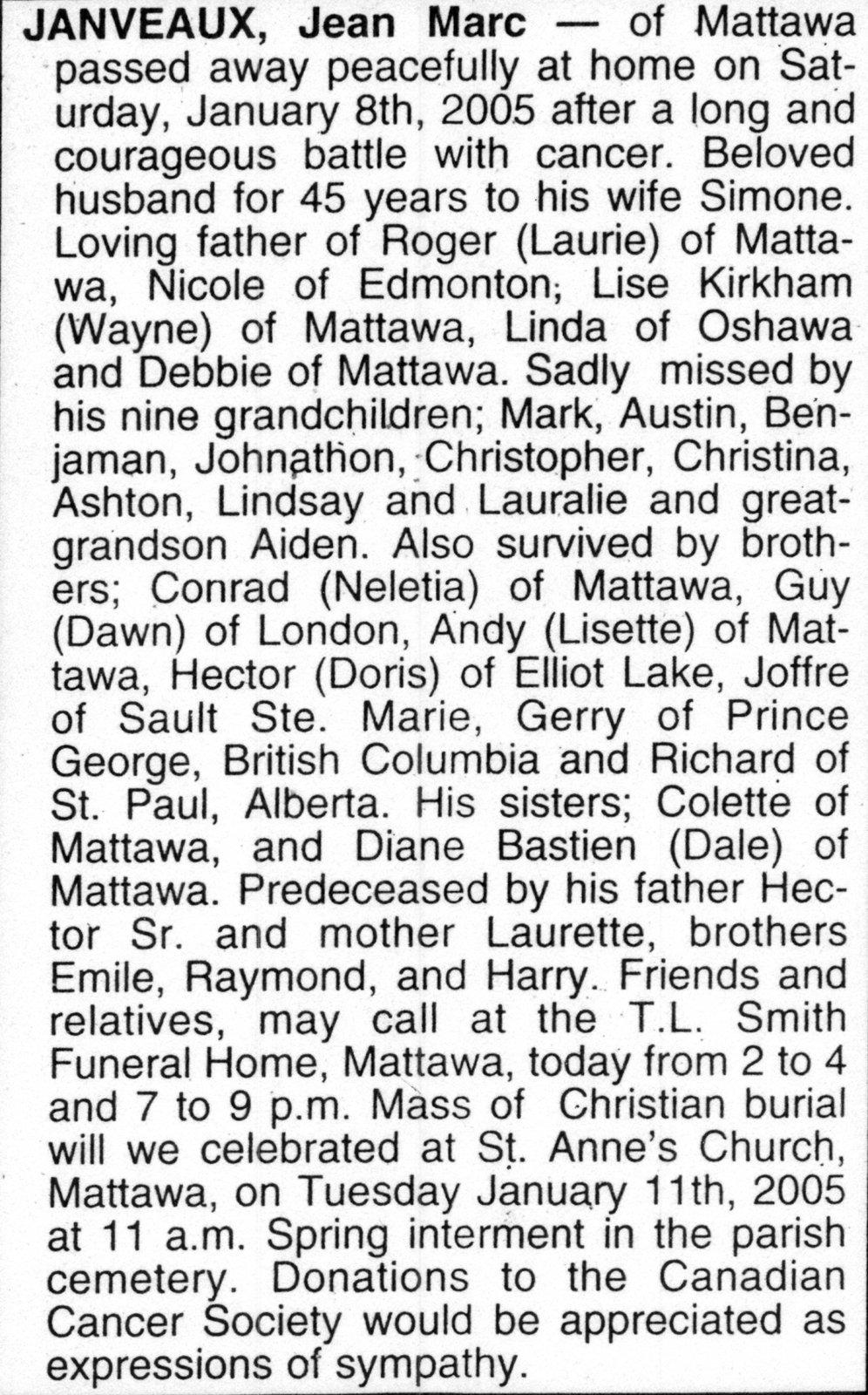 Nécrologie / Obituary Jean Marc Janveaux