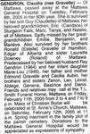 Nécrologie / Obituary Claudia Gendron (née Gravelle)