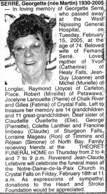 Nécrologie / Obituary Georgette Serré (née Martin)
