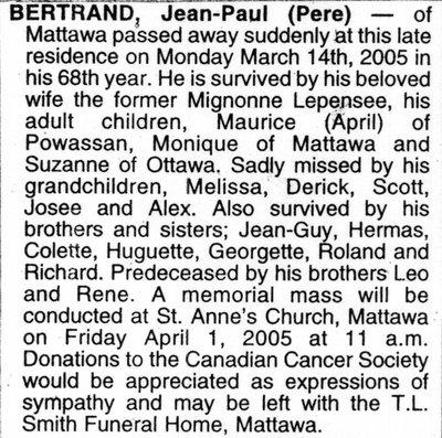 Nécrologie / Obituary Jean-Paul (Pere) Bertrand