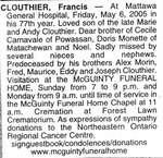 Nécrologie / Obituary Francis Clouthier