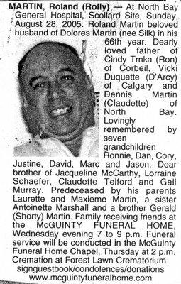 "Nécrologie / Obituary Roland ""Rolly"" Martin"
