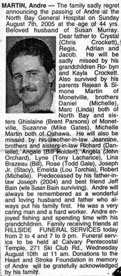 Nécrologie / Obituary Andre Martin
