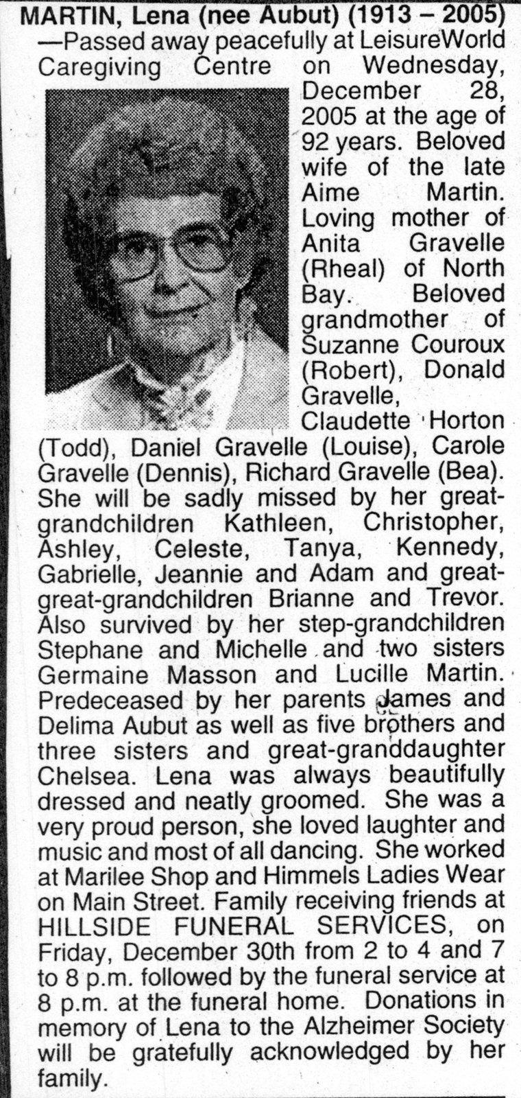 Nécrologie / Obituary Lena Martin (née Aubut)