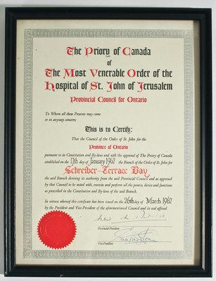 St. John's Ambulance Certificate