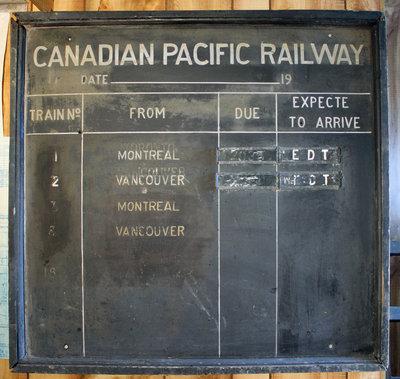 Canadian Pacific Railway Train Schedule Board