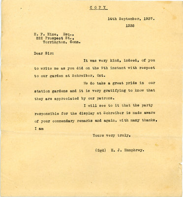 Correspondence About C.P.R. Station Landscaping