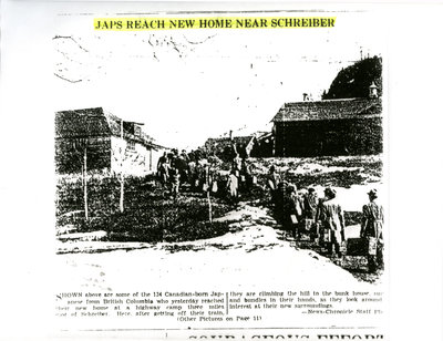 "Newspaper Article - ""Japs Reach New Home Near Schreiber"""