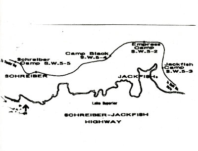 Map of Highway from Schreiber to Jackfish