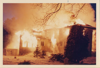 Rosseau Lake College, formerly The Eaton's Estate ablaze