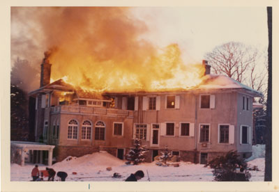 Rosseau Lake College, formerly The Eaton's Estate, roof on fire