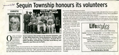 Seguin Township honours its volunteers