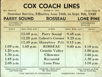 Cox Coach Lines Summer Bus Schedule