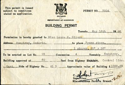 Building Permit for a Store in the Township of Humphrey