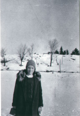 Unknown woman in winter coat