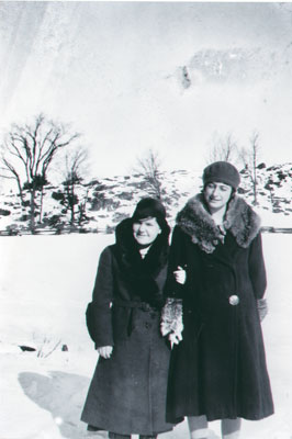 Unknown woman with Alma in winter coats