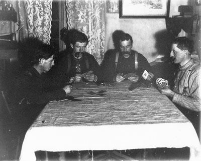 Four Men Playing Cards, South River Area, circa 1900