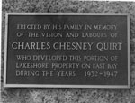 Charles Chesney Quirt Memorial Plaque