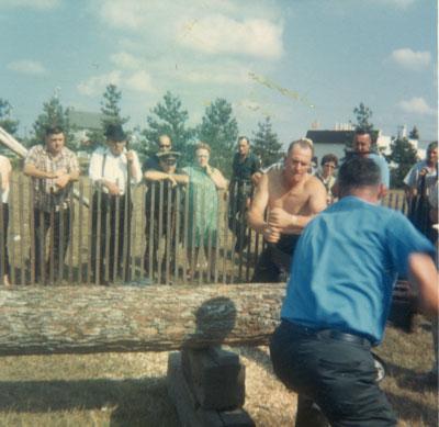 Two Men Sawing a Log, South River Agricultural Society Fall Fair, circa 1970
