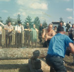 Two Men Sawing a Log, South River Agricultural Society Fall Fair, circa 1970