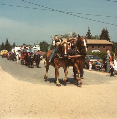 Two Boys on Horses, South River Agricultural Society Fall Fair Parade, 1984