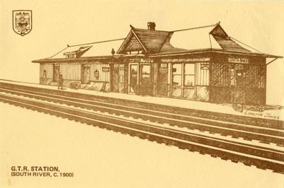 Hand Drawn Postcard of The Grand Trunk Railroad Station, circa 1900