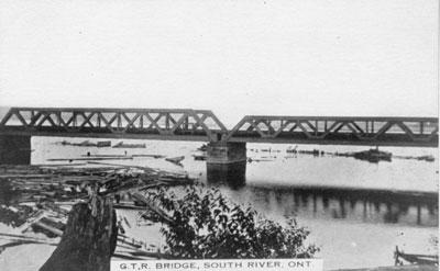 Postcard of Grand Truck Railroad Bridge South River, circa 1920