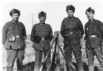 Four Soldiers Standing Outside, circa 1916