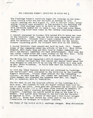 History of The Sundridge Women's Institute during World War I