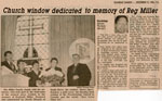 """""""Church window dedicated to memory of Reg Miller"""", Newspaper Clipping, 1986"""