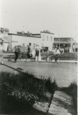 Grand Trunk Railroad Station and Johnstone's Hardware Store, Sundridge, circa 1920